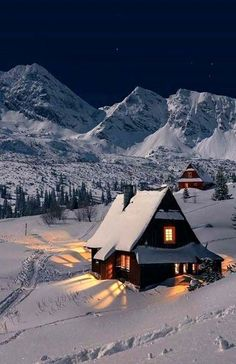 paysage noel my goal is to get a cottage like this and morph into santa - Winter Szenen, Winter Time, Winter Night, Winter Cabin, Winter Pictures, Cool Pictures, Beautiful World, Beautiful Places, Beautiful Forest