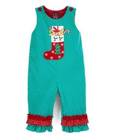 Take a look at this Green & Red Corduroy Stocking Ruffle Playsuit - Infant & Toddler today! Cute Outfits For Kids, Cute Kids, Playsuit, Corduroy, Infant Toddler, That Look, Overalls, Stockings, Rompers