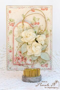 card flowers vintage sahbby chic Maja design paper Summertime Cards by Pascale B #majadesign