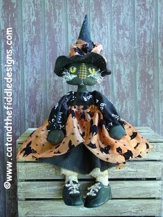 CF234  Eve L Kat PDF ePattern Cat Cloth Doll by catandthefiddle, $9.00