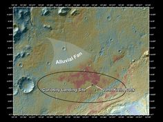 """Location of John Klein Drill Site This false-color map shows the area within Gale Crater on Mars, where NASA's Curiosity rover landed on Aug. 5, 2012 PDT (Aug. 6, 2012 EDT) and the location where Curiosity collected its first drilled sample at the """"John Klein"""" rock. Image credit: NASA/JPL-Caltech/ASU"""