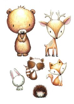 Woodland Animal Decor - Pick 1, 2, 3, 4, 5 or 6 Prints. A great keepsake for your a childs room. During checkout please include in the notes to seller: -Choice of Animals -Choice of Background color Details: You will receive your custom proof in your Etsy Conversation box within