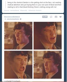 """being in the sherlock fandom is like getting shot in the face, not seeking medical attention, and just laying there in your own pool of blood and then starting to roll in that blood thinking """"there's nothing wrong with me.""""... That's really accurate."""