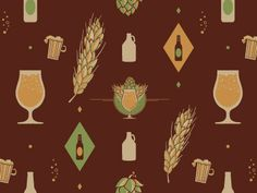 Glenn Thomas: Exploring some ideas for a Beer themed pattern, to accompany other designs.