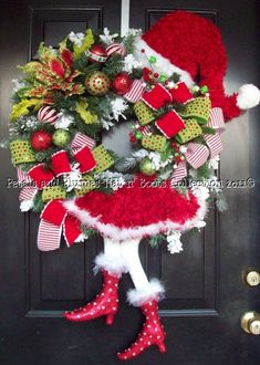 """Santa Diva"" Christmas Wreath-Petals & Plumes-Hat n' Boots Collection © 2010"