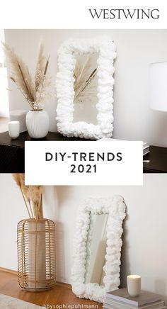 Der DIY-Trend wird sich auch in diesem Jahr fortsetzen – ob zum Verschönern des eigenen Zuhauses, zur Entspannung nach Feierabend, zur Bespaßung der Kleinen oder zum Verschenken an die Liebsten. Wir zeigen Ihnen deshalb hier die 7 schönsten Basteltrends 2021. Lassen Sie sich von unseren Ideen inspirieren und werden Sie selbst kreativ!/Westwing Interior DIY Basteln Trend 2021 twisted candles foam Spiegel Kerzen Zuhause Modelliermasse Diy Trend, Trends, Diys, Inspiration, Interior, Modelling Clay, New Furniture, Room Interior Design, Mirrors
