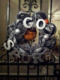 Hey, I found this really awesome Etsy listing at https://www.etsy.com/listing/176654612/spurs-basketball-wreath