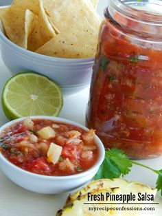 This Fresh Pineapple Salsa is packed with flavor and it is so easy to make!My kids love this salsa and I love that it is healthy for them. It would be the perfect side for you summer barbeque. Popular Recipes, My Recipes, Mexican Food Recipes, Vegetarian Recipes, Favorite Recipes, Healthy Recipes, Vegetarian Grilling, Healthy Grilling, Mexican Dishes