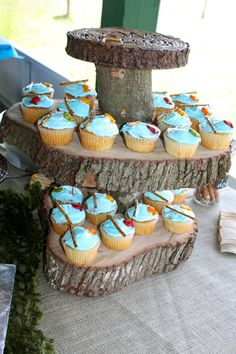3 tiered cupcake stand made from real tree .. fishing party