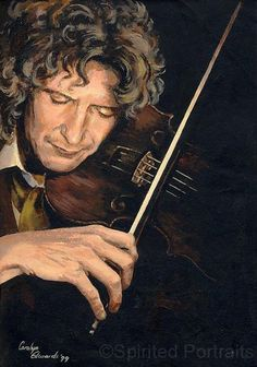 Painted in this portrait was inspired by the romantic side of the Eighth Doctor. I imagined he could well be an accomplished violinist, hense the . The Doctor - Thais Doctor Who Tumblr, Doctor Who Fan Art, Eighth Doctor, 12th Doctor, Paul Mcgann, Bbc America, Dr Who, Great Friends, Superwholock