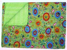 Handmade Kantha Quilted Gudri New Flower Print Ralli Decorative Size 60x90 inch. #LuckyHandicraft #Traditional