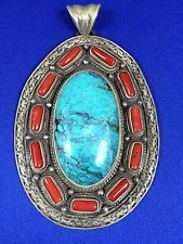 Nepalese Sterling Silver Spider WEB Turquoise AND Coral Pendant | eBay