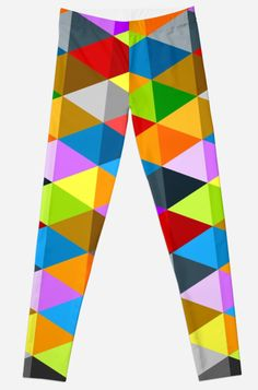Modern bright funky colorful triangles pattern leggings by #PLdesign #geometric #modern #ColorfulTriangles #redbubble