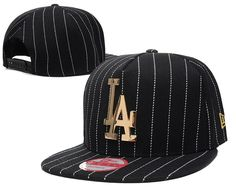 Men s Los Angeles Dodgers New Era Gold Metal LA Logo A-Frame White Stripes  Baseball Snapback Hat - Black 4b006a3a4f63