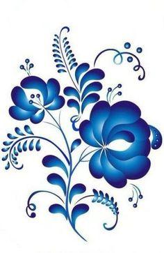 Floral pattern of traditional Gzhel Painting, Russian folk art Folk Art Flowers, Flower Art, Tole Painting, Fabric Painting, Painting Tips, Watercolor Painting, Jagua Henna, Norwegian Rosemaling, Russian Folk Art