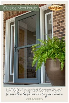 Open your home to the great outdoors with retractable screen away storm doors from LARSON. Enjoy the fresh air and add curb appeal to your home. House Front, My House, Larson Storm Doors, Decks And Porches, Front Porches, Front Door Colors, Door Makeover, Fresco, Back Patio