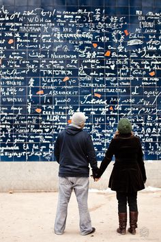"The ""I love you"" wall in Paris, where ""I love you"" is written a thousand times in 300 different languages."