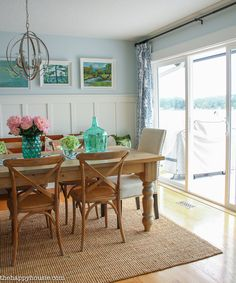 Lake House Summer Tour with beachy coastal colourful entry hall dining room and deck at the happy housie-11
