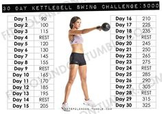 30 day kettlebell swing challenge: 5000 Its no secret I love kettlebells, and after a solid month of training with them, I really wanted to ... #fitness #kettlebell