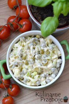 Sałatka z porem i groszkiem konserwowym Vegetarian Recipes, Cooking Recipes, Healthy Recipes, Appetizer Salads, Sandwiches, Breakfast Lunch Dinner, Tortellini, Salad Recipes, Food Porn