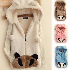 4 Colors Panda Fluffy Hoodie Coat SP154190