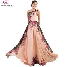 6426503d0abd4d Evening Dresses Long Grace Karin 4 Design Robe De Soiree Flower Print  Summer Chiffon Cheap Formal