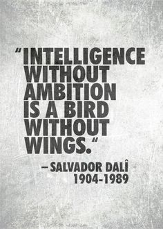 Intelligence without ambition is a bird without wings. dalvador dali quote. wisdom. advice. life lessons. goals. dreams.