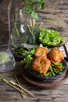 Deep-fried Stuffed Tofu (Tahu isi) - sub vegan egg