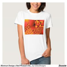 Abstract Design 1 Red Women's Basic T-Shirt #cool #abstract #colourful #colour #art #geometric #illustration #unique #custom #original #creative #design #tshirts #clothing #fashion
