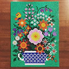 Flowers hama perler art by variterapia