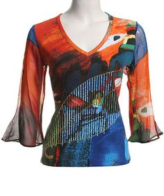 Love this Orange & Blue Abstract V-Neck Top by Le Mieux on #zulily! #zulilyfinds