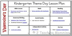 Valentine Kindergarten Theme Day Lesson Plans (links to various free resources)