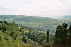 View from the ramparts, Cortona Castle. Lake Trasimene in the distance.