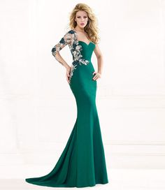 3a5d5c4ffc5 Sexy 2015 Formal Evening Dresses Mermaid One Shoulder Sheer Illusion Long  Sleeve Beads Backless Hunter Satin Prom Gowns
