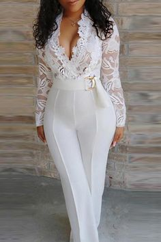 Belt Plain Office Lady Full Length Loose Womens Jumpsuit - Look Fashion Curvy Women Fashion, Womens Fashion, Cheap Fashion, Latest Fashion, Casual Cocktail Dress, Glamour, Office Ladies, Overall, Jumpsuits For Women