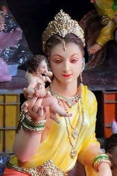 Baby Ganesha with mother Parvati Jai Ganesh, Ganesh Lord, Ganesh Idol, Ganesh Statue, Shri Ganesh Images, Ganesha Pictures, Indian Goddess, Durga Goddess, Ganesh Jayanti