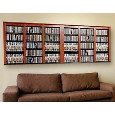 Cherry And Black Triple Wall Mounted Multimedia Storage Shelf By