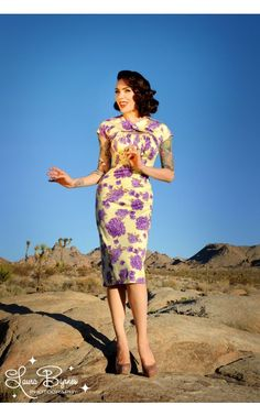 Pinup Couture- Erika Dress in Yellow and Plum Rose | Pinup Girl Clothing