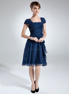 A-Line/Princess Square Neckline Knee-Length Chiffon Lace Mother of the Bride Dress With Ruffle Bow(s) (008006166)