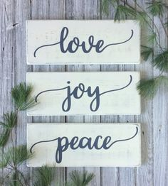 "Love joy peace signs, Christmas wood signs, Christmas decor, rustic wall decor, rustic Christmas decor, mantel decor, each 9.25"" x 24"""