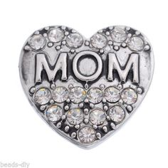 "4PC Snap Button Fit Snap Bracelet White Rhinestone Carve ""MOM"" Heart 19x20mm"