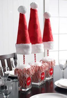 DIY Home Decor :DIY Santa Hat Topiaries : DIY Topiaries. Would be super cute for kids party.