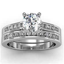 Princess Cut Diamond Engagement Ring with Matching Band set in 18k White Gold