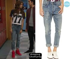 "K.C. Cooper (Zendaya Coleman) wears these blue denim roll up ripped denim jeans in this episode of K.C. Undercover, ""Double Crossed Part 2"" They are similar to these Citizens of Humanity Corey Straight Leg Ripped Jeans."