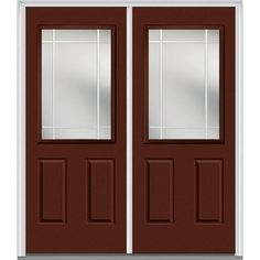 Milliken Millwork 74 in. x 81.75 in. Classic Clear Glass PIM 1/2-Lite Painted Majestic Steel Exterior Double Door, Redwood