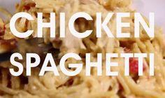 Full recipe below. Ingredients: 1 rotisserie chicken, deboned 1 package of spaghetti 1 block (1 lb) of Velveeta 1 can cream of mushroom soup 1 can Ro-Tel tomatoes with green chilies ½ teaspoon garl...