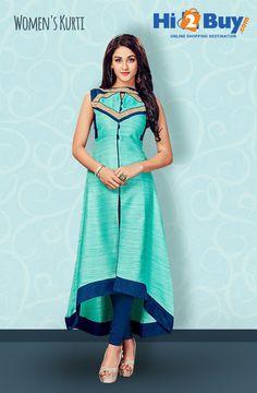 Women's Blue Silk Embroidered Kurti at Hi2Buy.com. #Hi2buy #Kurti #OnlineShoppingDestination