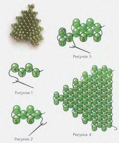 схема зеленого листа из бисера