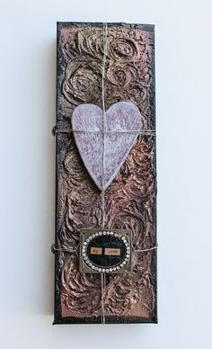 Mixed Media Canvas Wooden Heart  Black Gold and by ArtofMyFocus