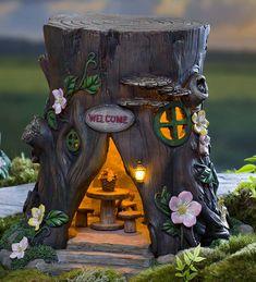 Miniature Fairy Garden Solar Welcome House Stump